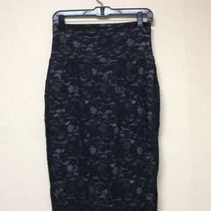 Bisou Bisou Almost Famous Black Lace Skirt